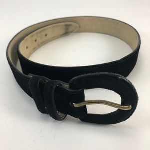 Lands End Black Suede Belt